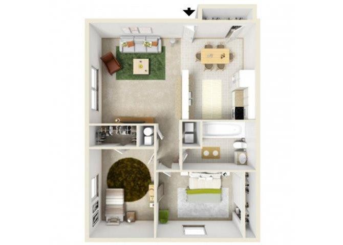 Two Bedroom 1st Floor Williamsburg Floor Plan 7