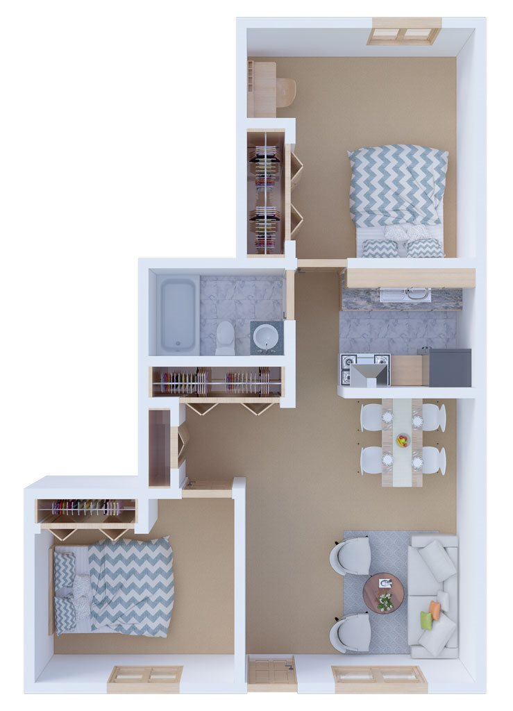 Two Bedroom Front to Back Floor Plan 4