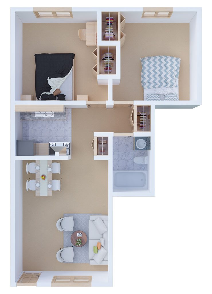 Two Bedroom Back to Back Floor Plan 3