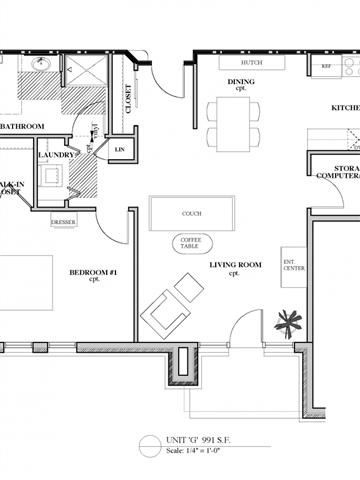 1 Bedroom 1 Bathroom Floor Plan 3