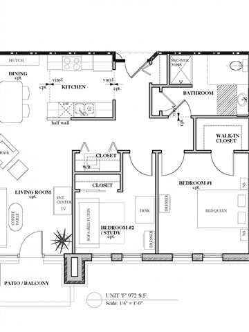 2 Bedroom 1 Bathroom Floor Plan 1