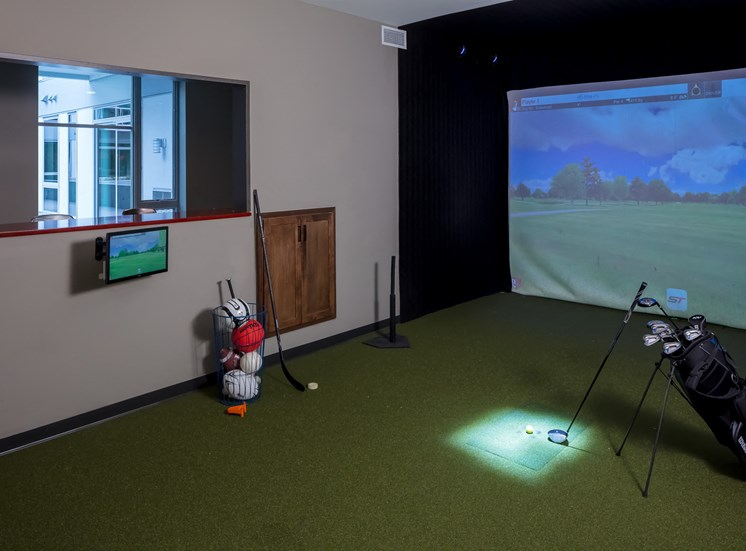 Sports simulator in game room