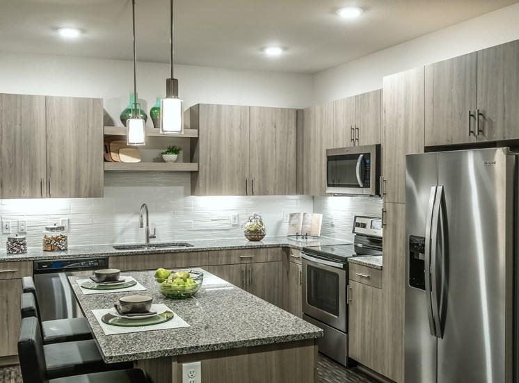 Kitchen With Modern Lights at Altitude 970, Kansas City, Missouri