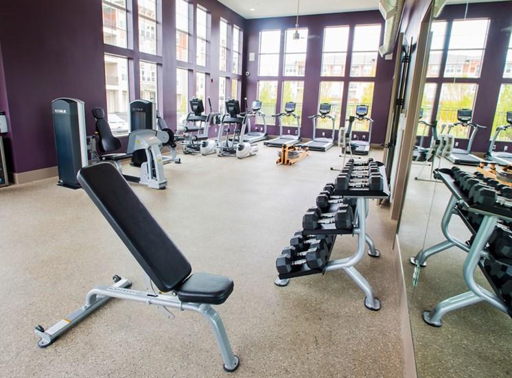 Free Weights in Gym at Altitude 970, Kansas City, Missouri