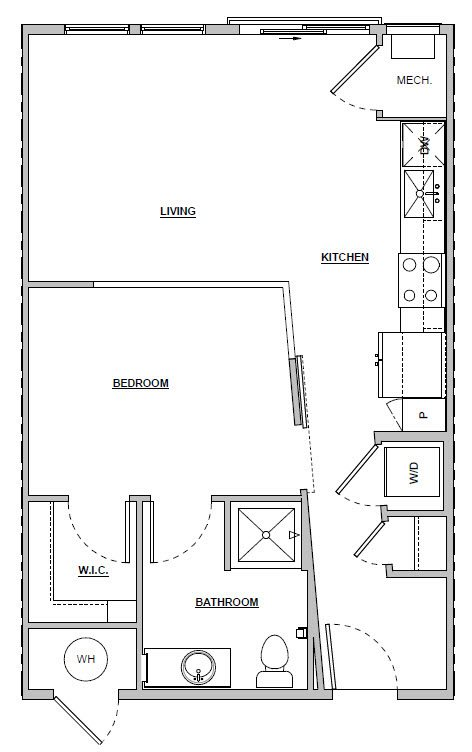 Studio 589 sq ft Unit A1 floor plan layout at Altitude 970 apartments in Kansas City, MO