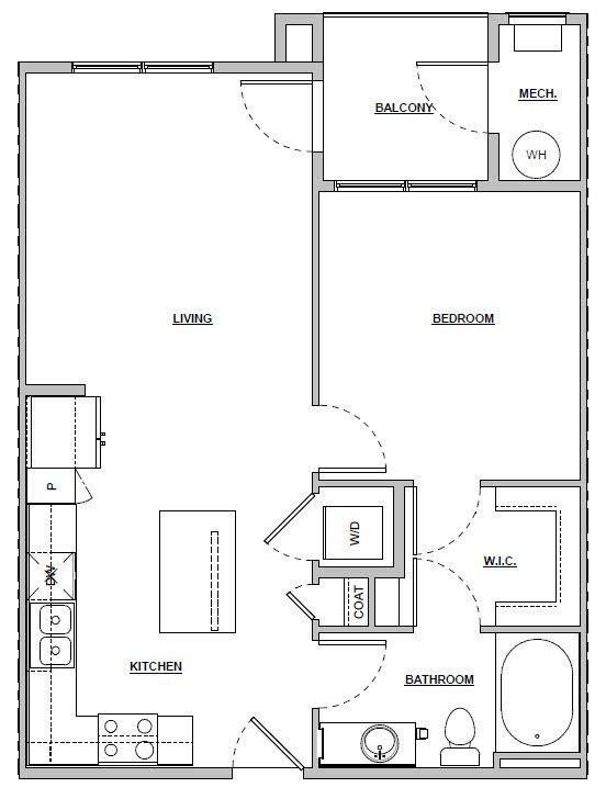 1 bedroom 1 bath 662 sq ft Unit A2 floor plan layout at Altitude 970 apartments in Kansas City, MO