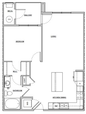 1 bedroom 1 bath 757 sq ft Unit A3 floor plan layout at Altitude 970 apartments in Kansas City, MO