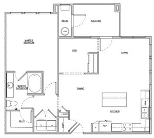1 bedroom 1 bath 947 sq ft Unit A5 floor plan layout at Altitude 970 apartments in Kansas City, MO