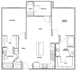2 bedroom 2 bath 1033 sq ft Unit B1 floor plan layout at Altitude 970 apartments in Kansas City, MO
