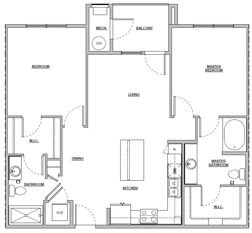 2 bedroom 2 bath 1033 sq ft Unit B1 floor plan layout at Altitude 970 apartments in Kansas City, MO