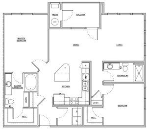 2 bedroom 2 bath 1224 sq ft Unit B3 floor plan layout at Altitude 970 apartments in Kansas City, MO