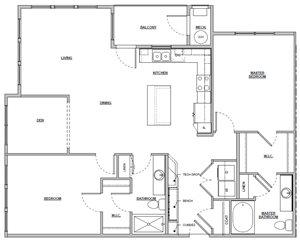2 bedroom 2 bath 1372 sq ft Unit B4 floor plan layout at Altitude 970 apartments in Kansas City, MO