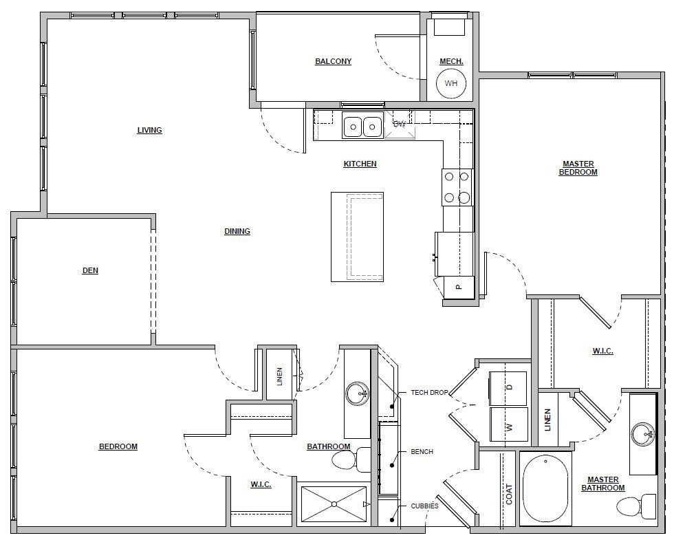 2 bedroom 2 bath 1372 sq ft Unit B4 floor plan layout at Altitude 970 apartments in Kansas City, MO