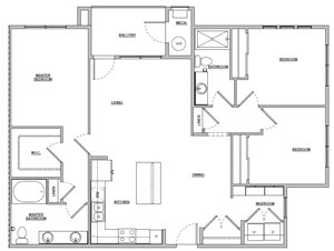3 bedroom 3 bath 1359 sq ft Unit C1 floor plan layout at Altitude 970 apartments in Kansas City, MO
