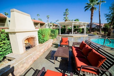 Outdoor Fireplace & Lounge Area - Ariana At El Paseo Lifestyle