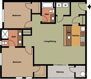 Two Bedroom, Two Bath Style #1