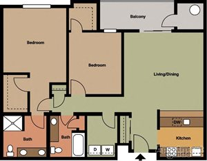 Two Bedroom, Two Bath Style #2