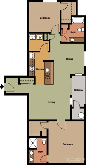 Two Bedroom, Two Bath Style #3