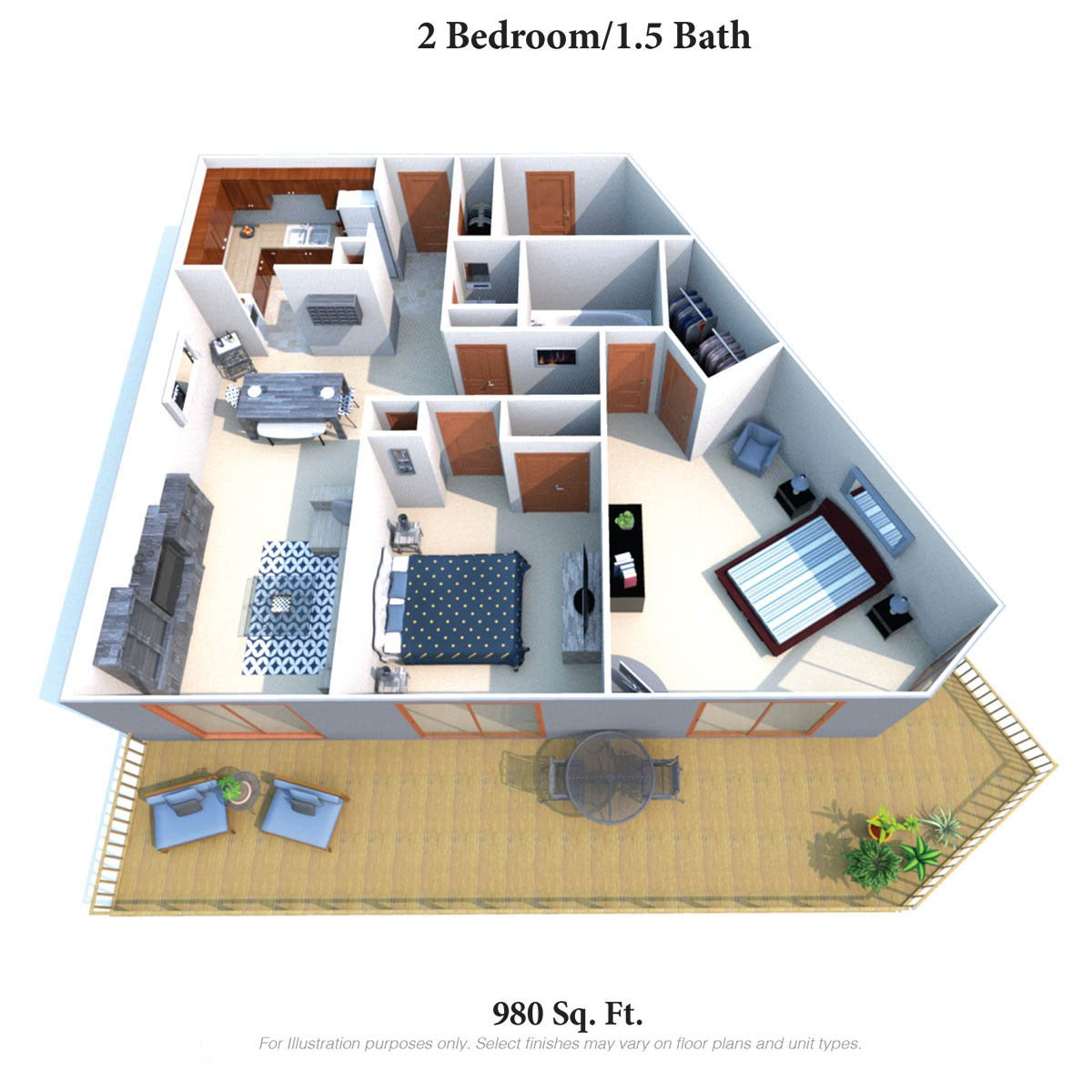 Two Bedroom 1.5 Bath Floor Plan 2