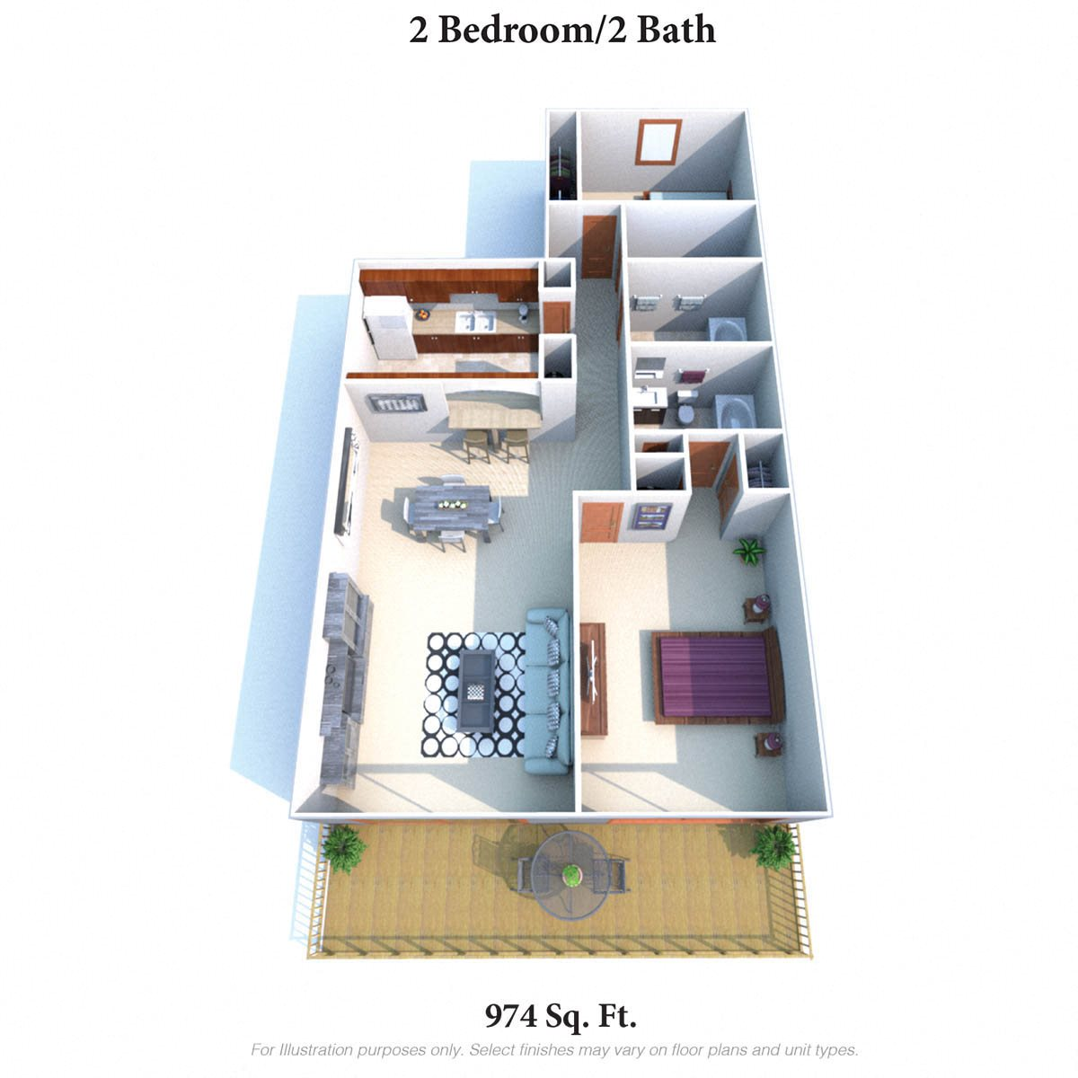 Two Bedroom Two Bathroom Floor Plan 4