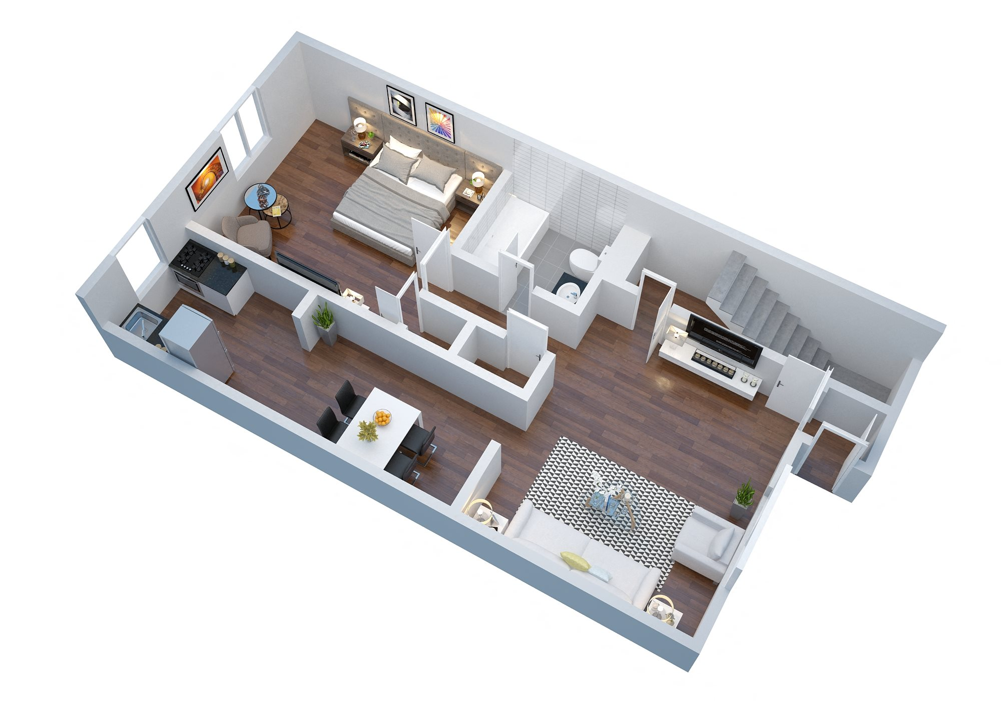1 Bedroom with Garage Floor Plan 4