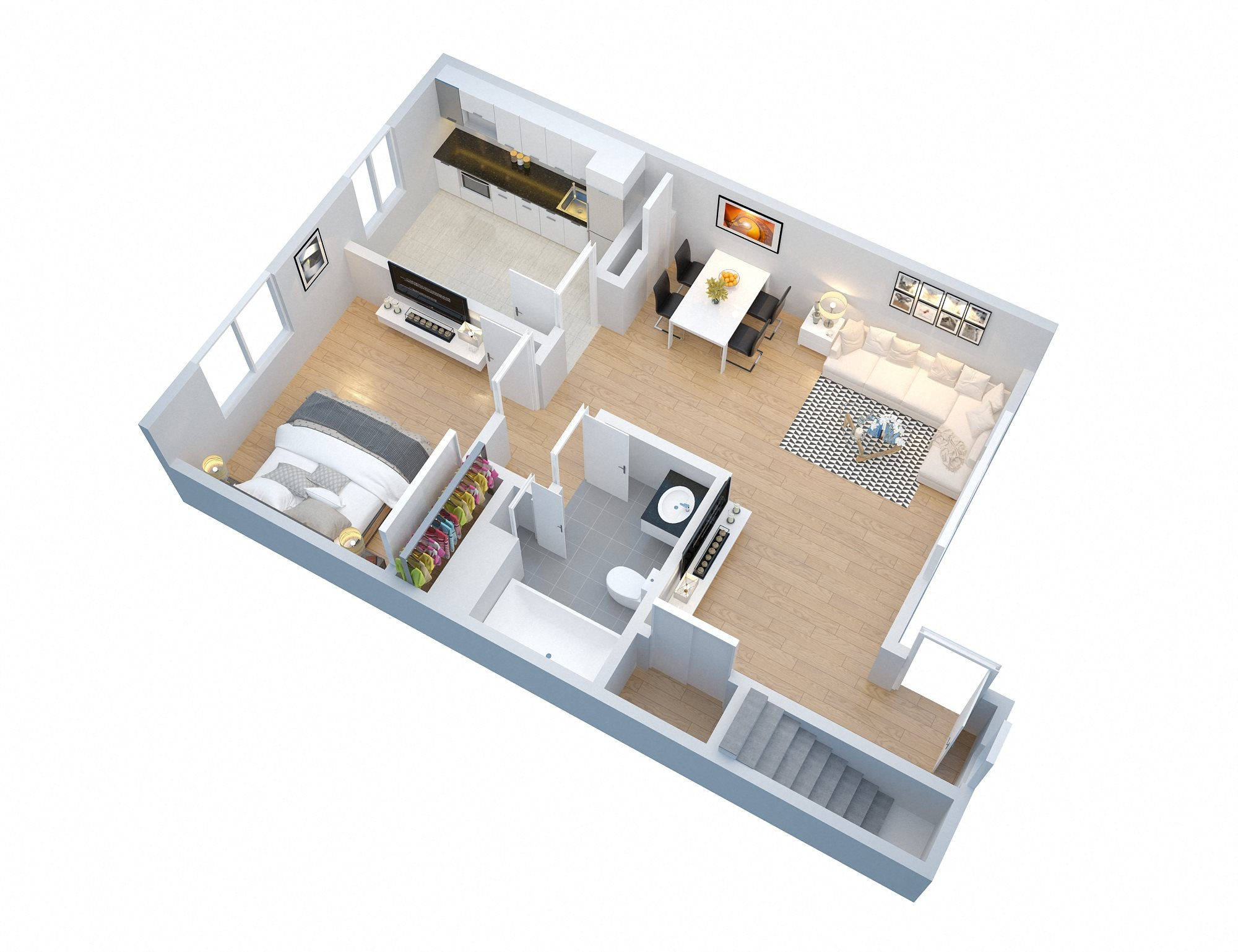 1 Bedroom with Garage Floor Plan 1