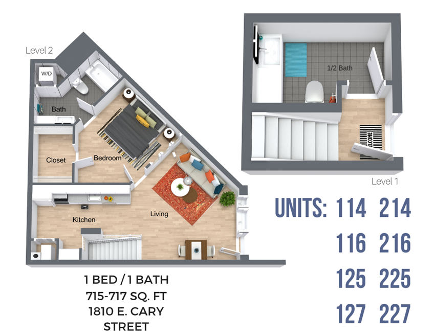One Bedroom (Overview - River Side)