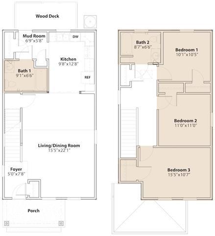 3 Bedroom  2 Bathroom Floor Plan 1