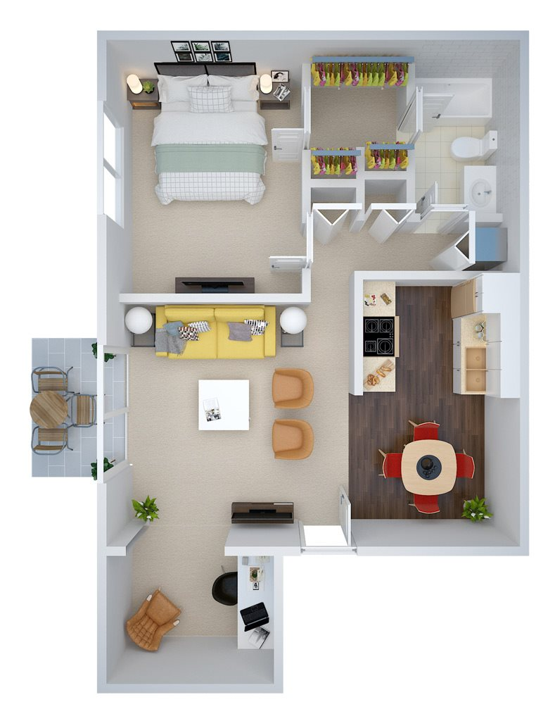 One Bedroom w/ Study Floor Plan 3