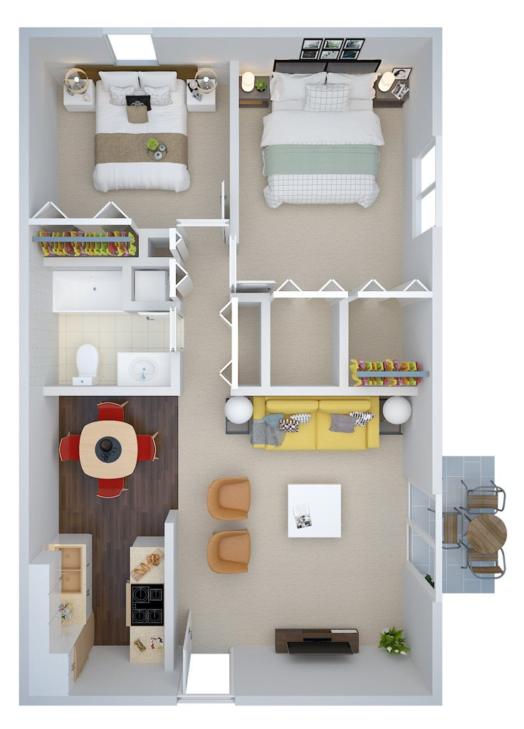 Two Bedroom Floor Plan 4