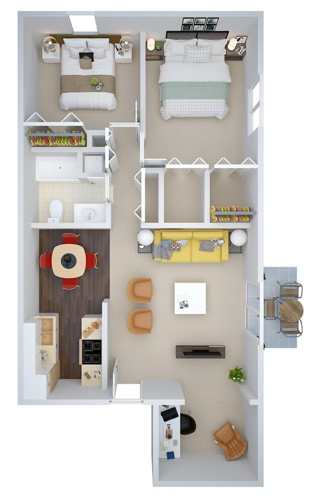 Two Bedroom w/ Study Floor Plan 5