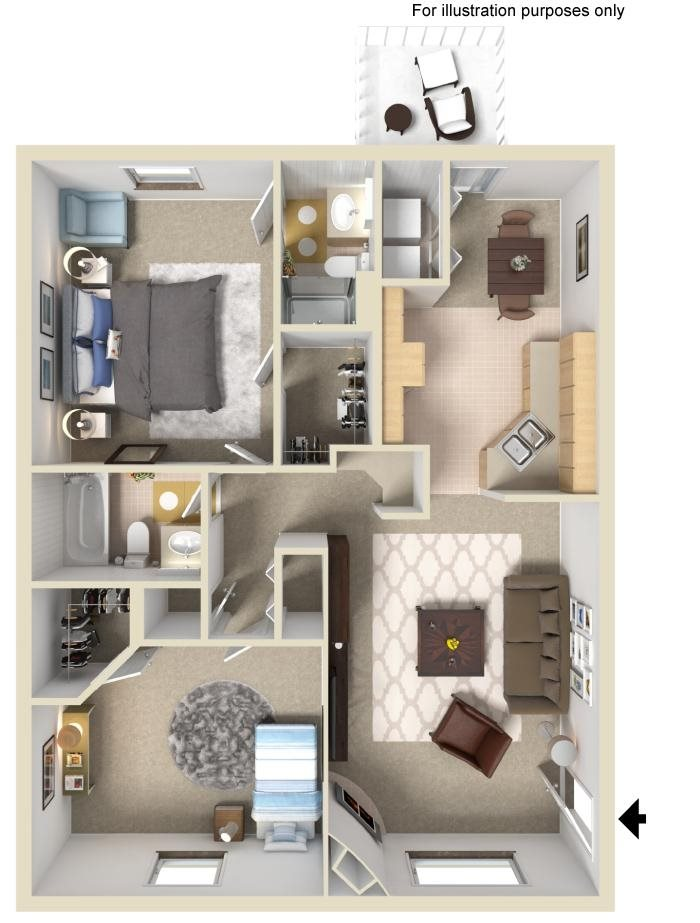 2 Bed 2 Bath Floorplan at Wyndamere Apartments, Georgetown, KY