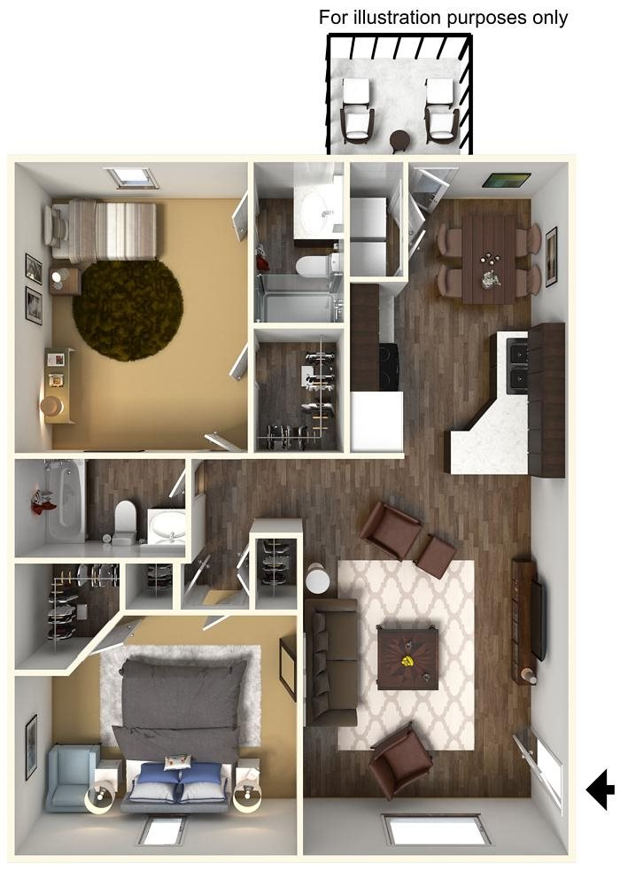 2 Bed 2 Bath Floorplan at Wyndamere Apartments, Georgetown, 40324