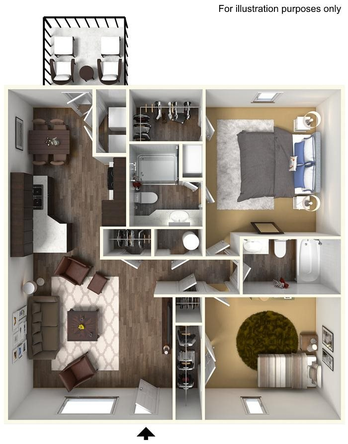2 Bed 2 Bath Floorplan at Wyndamere Apartments, 101 Collins Path