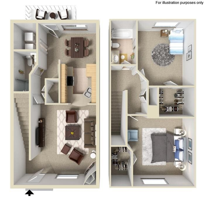 Two Bedroom Apartments & Townhomes