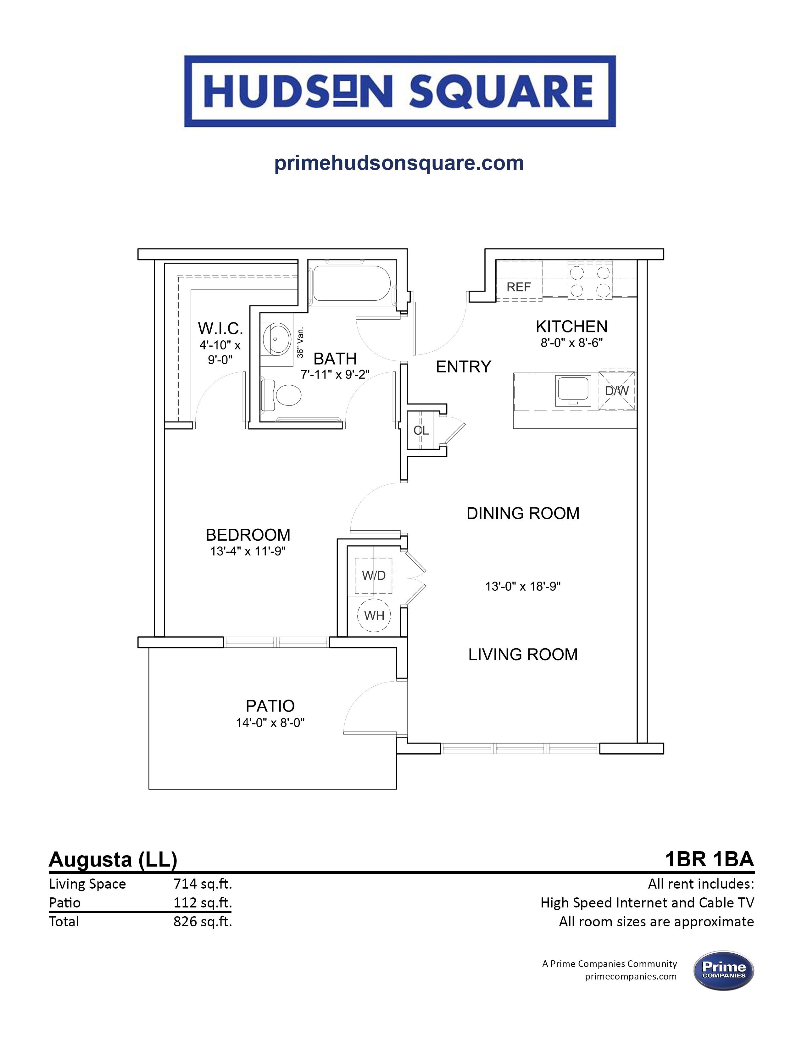 Augusta Lower Level Floorplan 1 bedroom 1 bath apartment