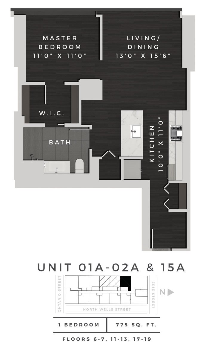 One Bedroom 01A + 02A + 15A Floor Plan 5