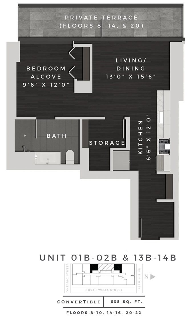 Junior One Bedroom 01B + 02B + 13B + 14B Floor Plan 4