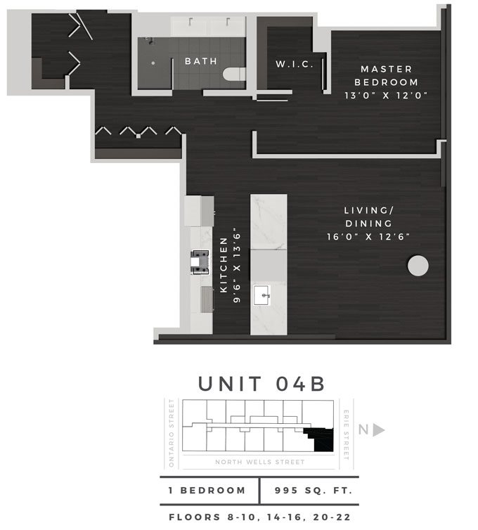One Bedroom Den 04B Floor Plan 8