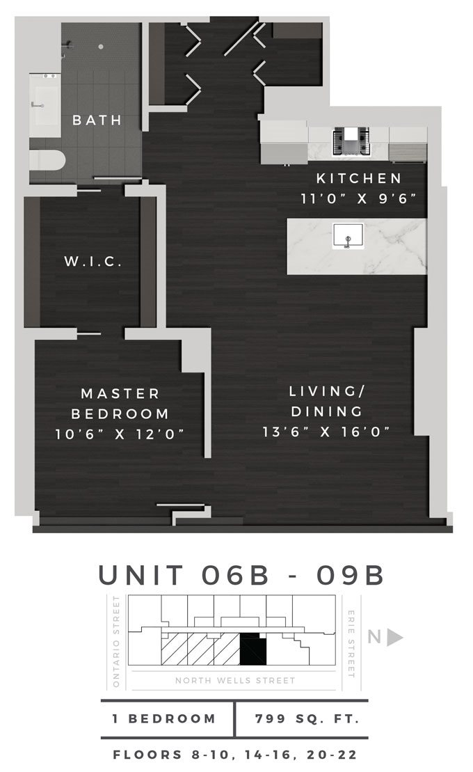 One Bedroom 06B - 09B Floor Plan 20