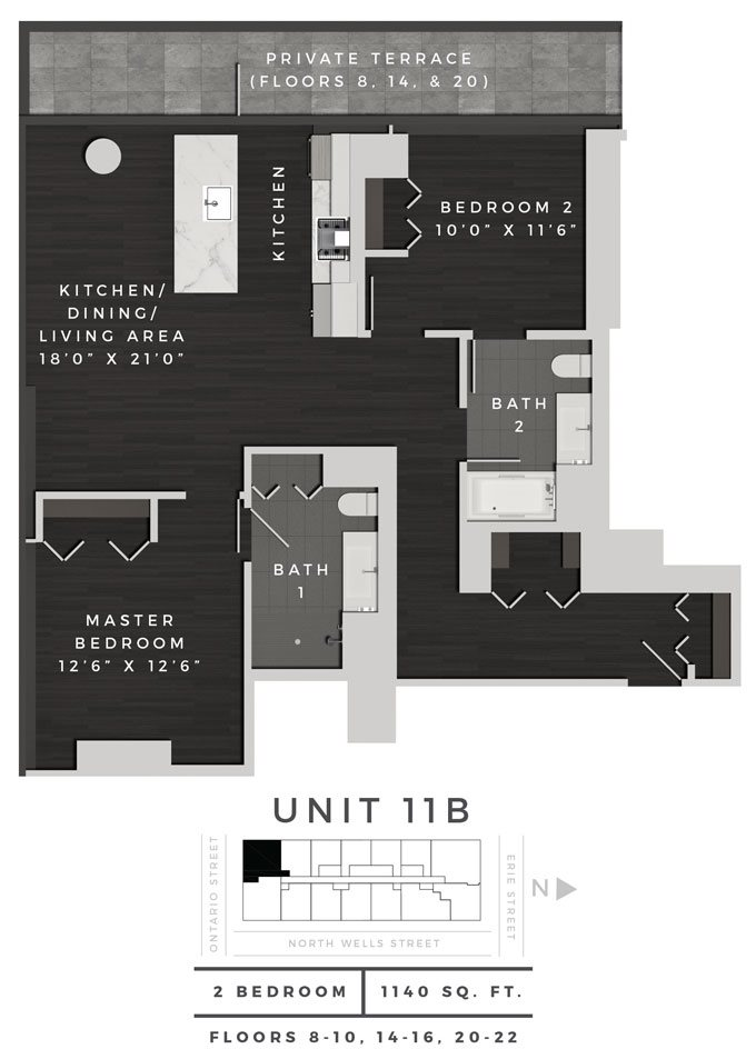 Two Bedroom 11B Floor Plan 14