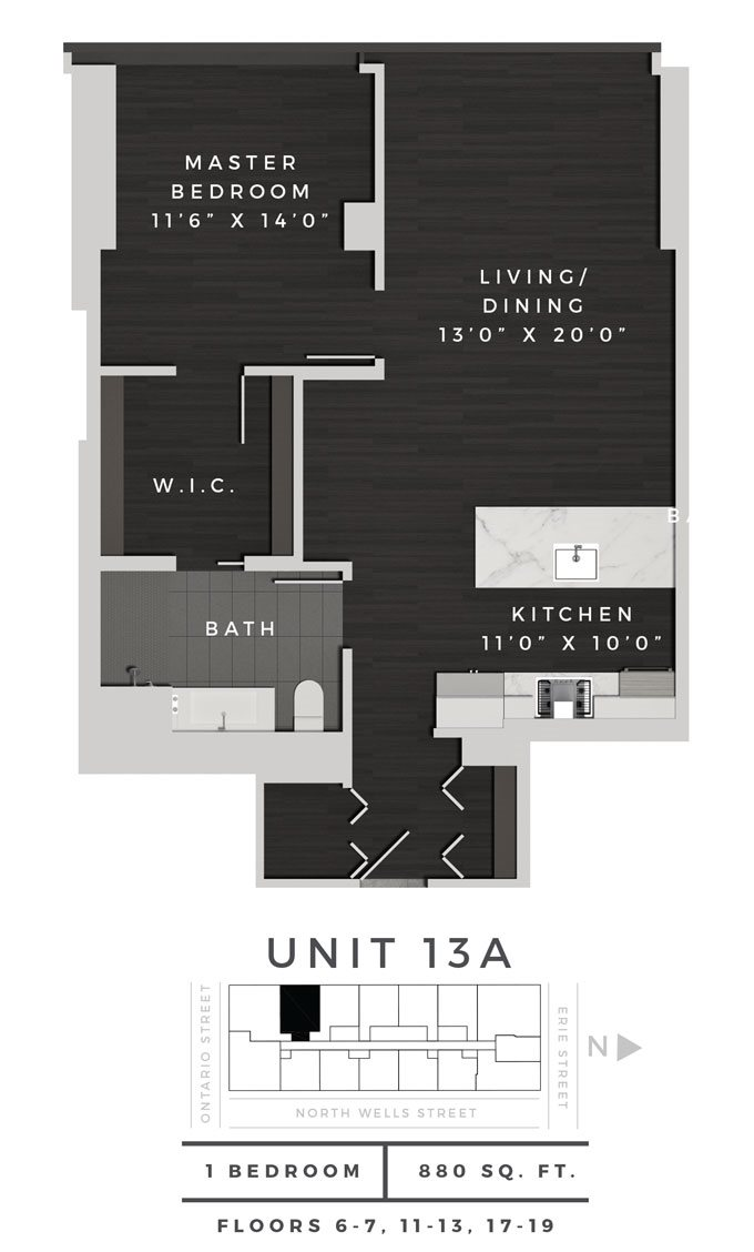 One Bedroom 13A Floor Plan 6