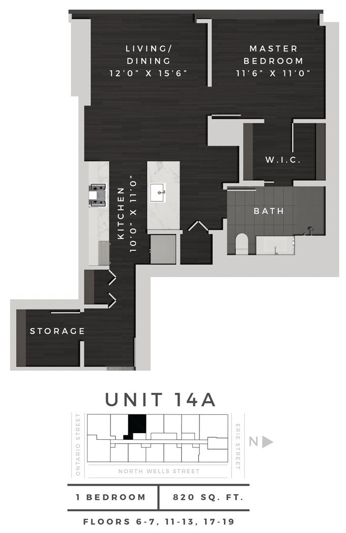 One Bedroom 14A Floor Plan 7