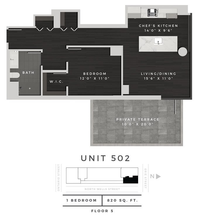 One Bedroom 502 Floor Plan 17