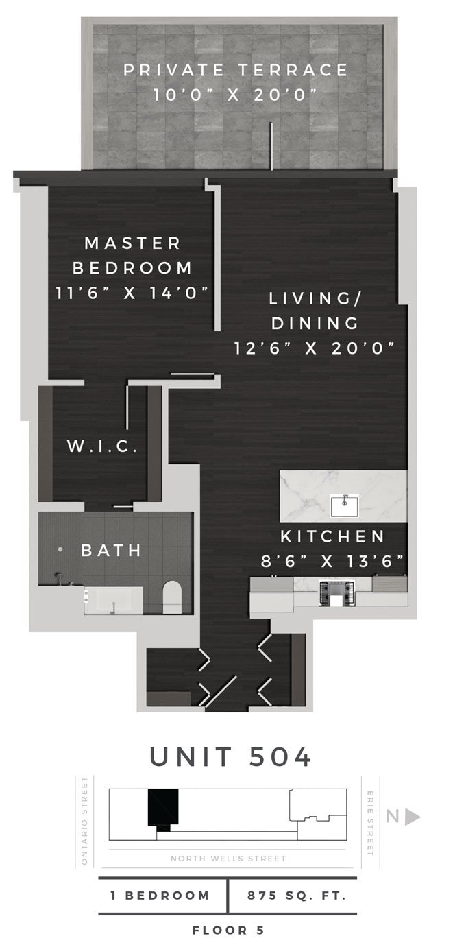One Bedroom 504 Floor Plan 18