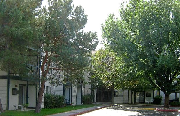 Parking lot and building