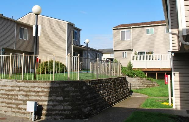 View of property retaining walls