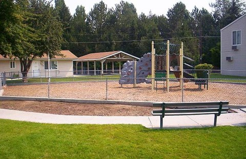 Bench and playground area