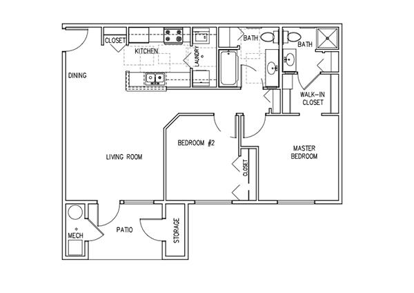 2 Bedroom Units Floor Plan 2