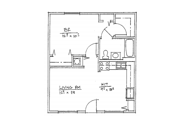 1 bedroom units Floor Plan 1